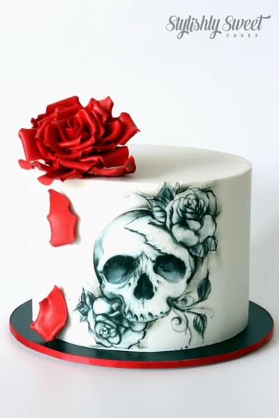 RED ROSE SKULL TATTOO CAKE
