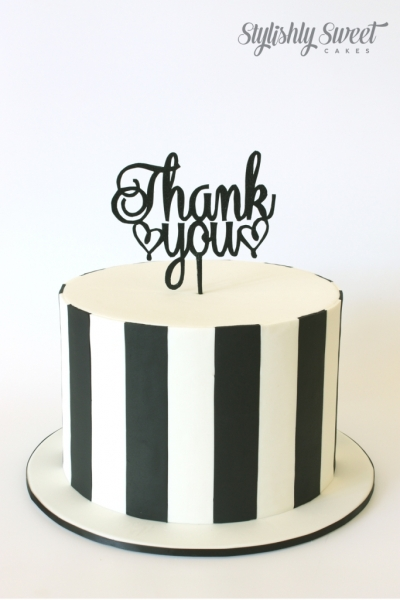 THANK YOU B& W STRIPE CAKE