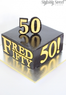 50th black and gold birthday cake