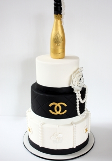 Chanel black and white designer cake