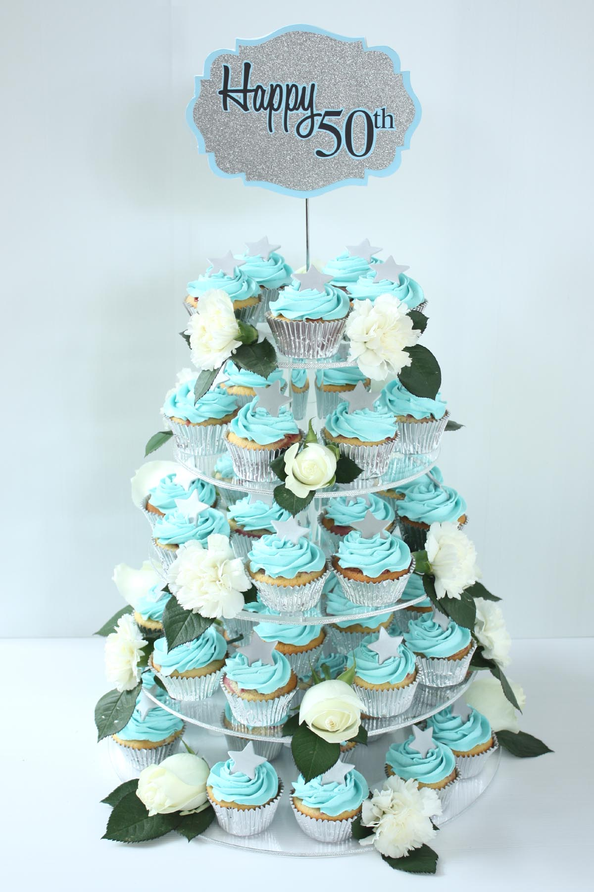 silver blue 50th cupcake tower