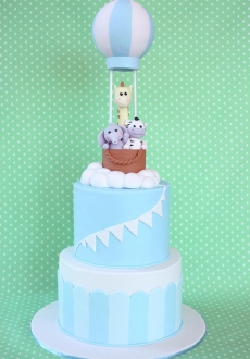 BABY HOT AIR BALLOON CHRISTENING CAKE