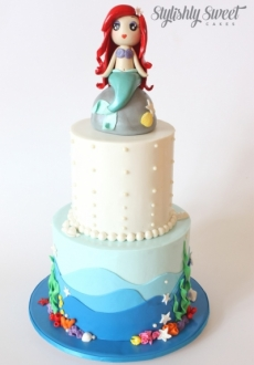 MERMAID on rock 2 TIER CAKE_1