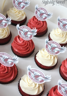 Manly football cupcakes