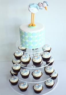 stork baby shower cupcakes tower