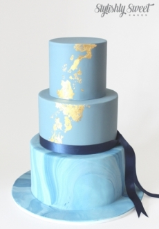 BLUE AND GOLD LEAF MARBLE CAKE