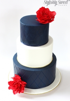 Navy White gold red rose wedding_01