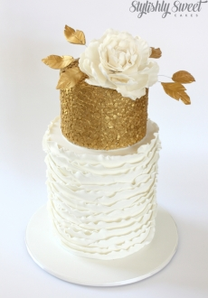 White gold sequins flower wedding_08