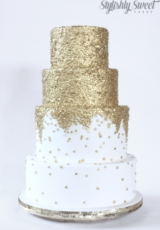 gold sequins wedding cake 03