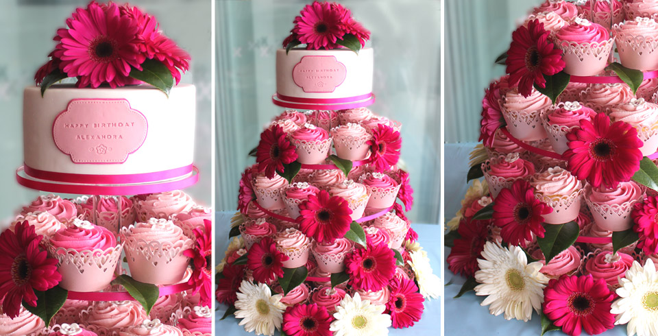 pink cup cake tower